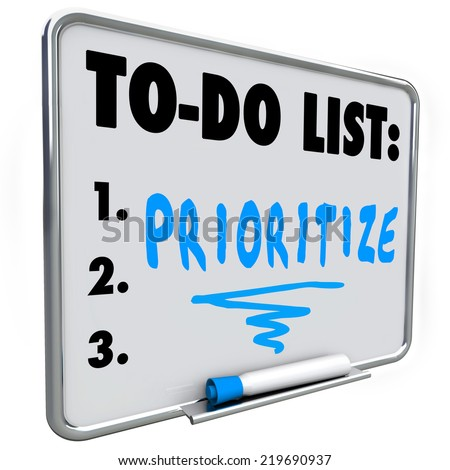 Prioritize word on a to do list written on a dry erase board to help you manage your jobs or tasks in your busy workload