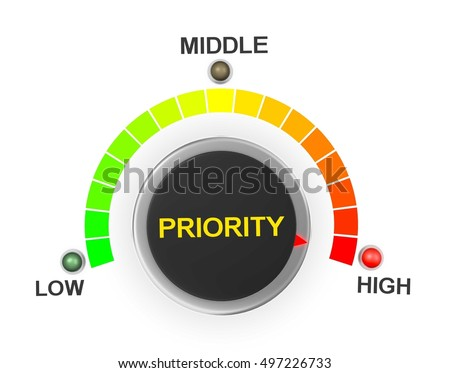 priority button position. Concept image for illustration of priority in the highest position , 3d rendering