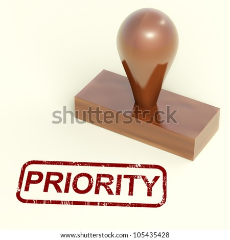 Priority Rubber Stamp Showing Urgent Rush Delivery - stock photo