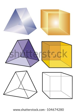 Prism and cube in translucent, transparent and outline form.