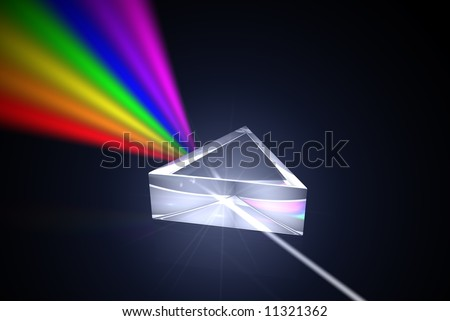 Prism with light shining through - stock photo