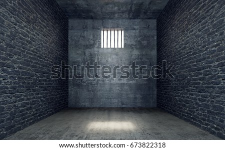 Prison cell with light shining through a barred window 3D Rendering, 3D Illustration