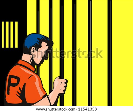 Prisoner behind bars - stock photo