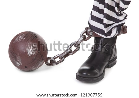 prisoner's leg and ball and chain on white