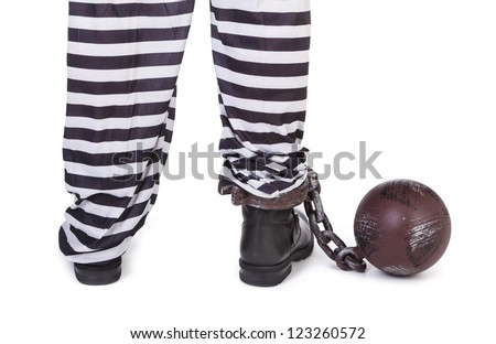 prisoner's legs and ball and chain on white, view from behind