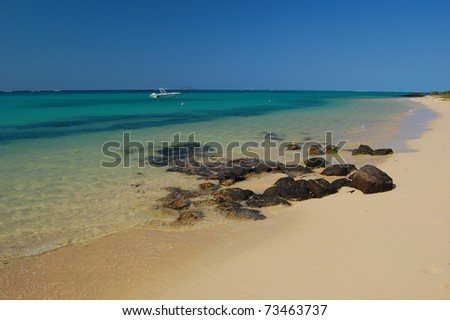 Pristine beach with turquoise water on northern coast of Mauritius Island