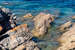 Pristine natural coastal environment, ideal as a backdrop for natural outdoor or marine product themed composite advertising media creation and web pages.