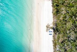 Pristine white sand beach on the western side of Fraser Island, QLD, Australia