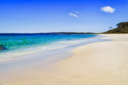 Pristine white sand of Hyams beach in Jervis bay area of Australia - sand dunes along Pacific coast.