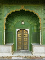 Pritam Chowk Doorway to 'The Court of the Beloved' in the City Palace in Jaipur, Rajasthan in western India.