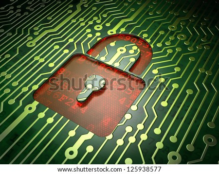 Privacy concept: circuit board with Closed Padlock icon, 3d render