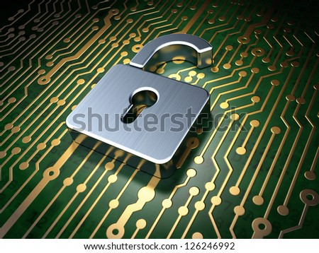 Privacy concept: circuit board with Opened Padlock icon, 3d render