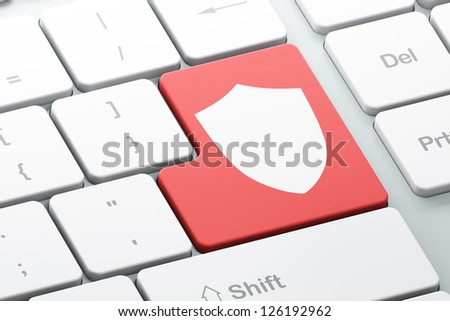 Privacy concept: Enter button with Shield on computer keyboard, 3d render