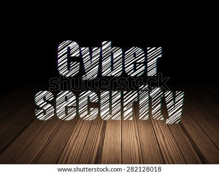 Privacy concept: Glowing text Cyber Security in grunge dark room with Wooden Floor, black background, 3d render