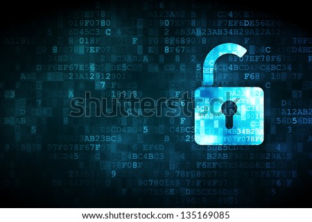 Privacy concept: pixelated Opened Padlock icon on digital background, empty copyspace for card, text, advertising