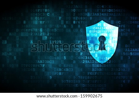 Privacy concept: pixelated Shield With Keyhole icon on digital background, empty copyspace for card, text, advertising, 3d render