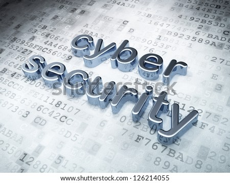 Privacy concept: Silver Cyber Security on digital background, 3d render