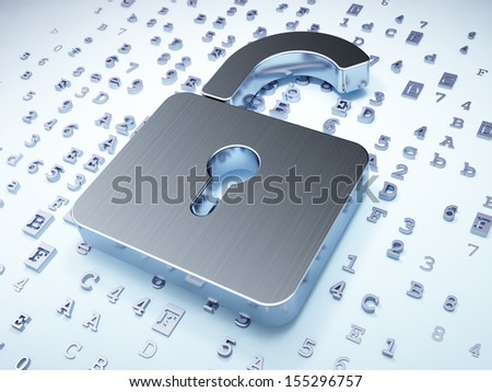 Privacy concept: Silver Opened Padlock on digital background, 3d render