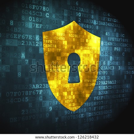 Privacy data: pixelated Shield With Keyhole icon on digital cyber data background, 3d render