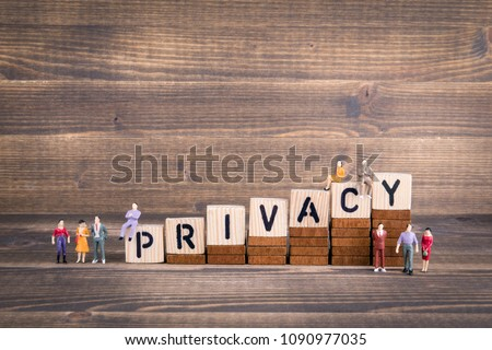 Privacy, GDPR. General Data Protection Regulation. Cyber security and privacy concept. Wooden letters on the office desk, informative and communication background #1090977035