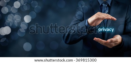 Privacy policy concept. Businessman with protective gesture and text privacy in hands. Wide banner composition with bokeh in background. #369815300