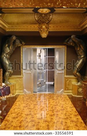 Private bank. Open massive vault door in an deposit room