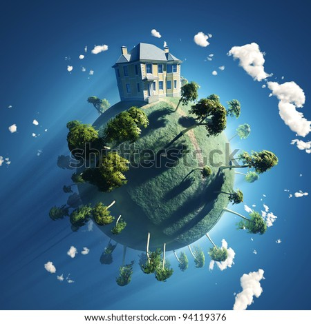 private house on small planet
