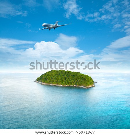 Private jet plane is over a tropical island. Luxury style living concept. . Square composition.