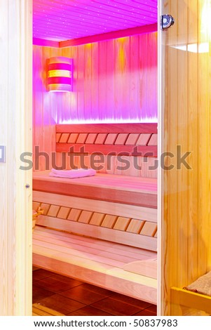 Private steam room with pink ambiance light - stock photo