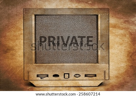 Private text on old tv