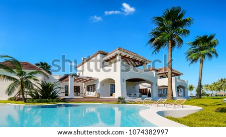 Private villa. Expensive mansion in oriental style. Summer time. Pool near the house. 3d illustration.