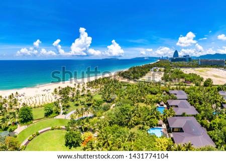 Private Villas on the White Sand Beach of Luxurious Resort at Haitang Bay, Sanya, Hainan Province, China. Aerial View.