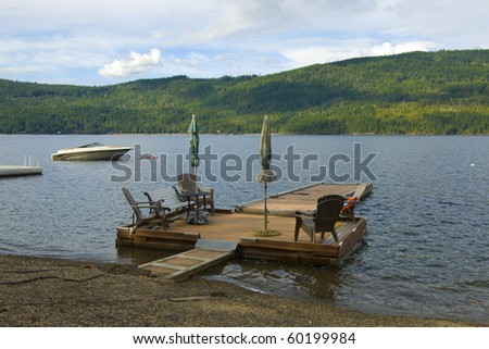 Private wooden dock on the Shuswap Lake, British Columbia, Canada