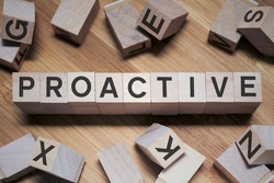 Proactive Word In Wooden Cube