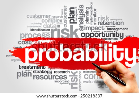 Probability word cloud, business concept