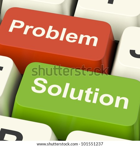 Problem And Solution Computer Keys Shows Assistance And Solving Online. Means Strategy For Resolving Trouble Or Difficulty And Overcoming Danger.