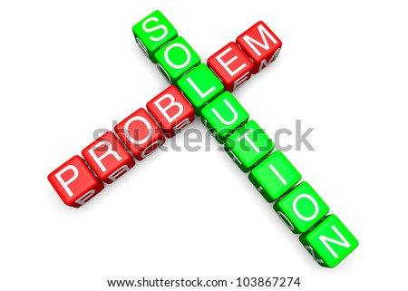 Problem and Solution concept. Sign as crossword blocks on a white background