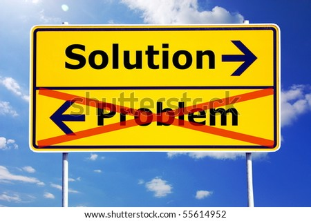 problem and solution concept with yellow road sign