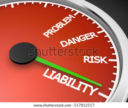 Problem, Danger, Risk  and Liability words on a speedometer 3d rendering Foto d'archivio ©