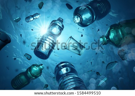 Problem plastic bottles and microplastics floating in the open ocean. Marine plastic pollution concept. 3D illustration Foto stock ©