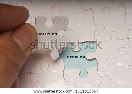 Problem solving or solution concept. Problem and solution wordings on puzzle pieces #1511615567