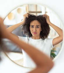 Problems with hairstyle, dry and brittle hair. Frustrated young african american female disappointed with haircut, touches to curly hair and looking at reflection in round mirror at home, copy space