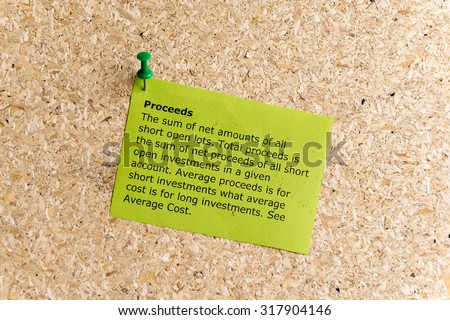proceeds word typed on a paper and pinned to a cork notice board