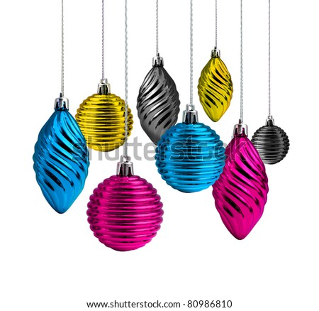 Process cmyk color Christmas decoration glass balls and cones