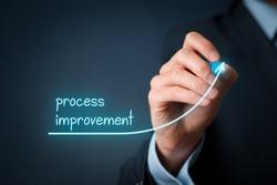 Process improvement concept. Businessman draw growing line symbolizing growing process improvement.