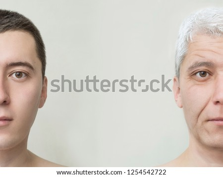 Process of aging and rejuvenation. Young man old face life aging concept. Collage of two portraits of the same old and young man. Face lifting, aging and skincare. Youth and old age.