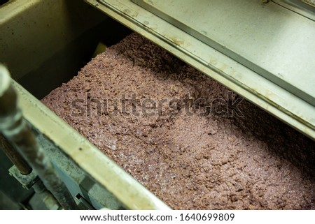 Process of grinding olives to fine paste in crusher machine in olive oil producing factory
