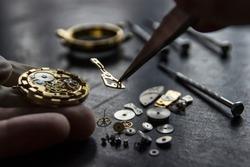 Process of installing a part on a mechanical watch, watch repair