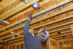 Process of installing electric wiring lights and ceiling in new home new home construction