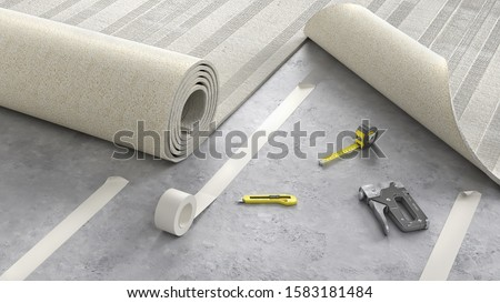 Process of laying cozy beige carpet on floor, 3d illustration